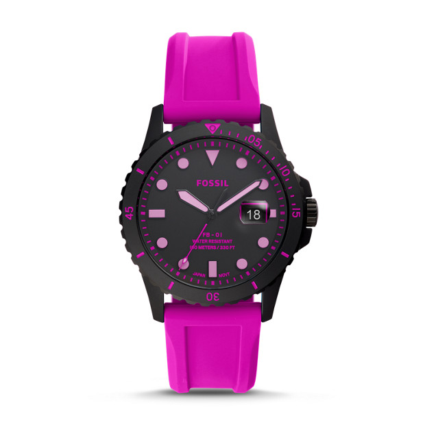 Fb 01 Three Hand Date Pink Silicone Watch by Fossil