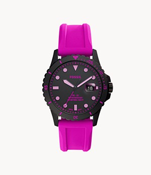 FB-01 Three-Hand Date Pink Silicone Watch