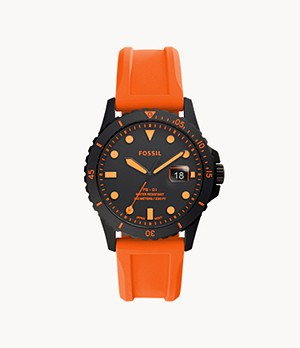 FB-01 Three-Hand Date Neon Orange Silicone Watch