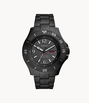 FB-02 Three-Hand Date Black Stainless Steel Watch