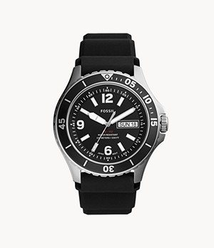 FB-02 Three-Hand Date Black Silicone Watch
