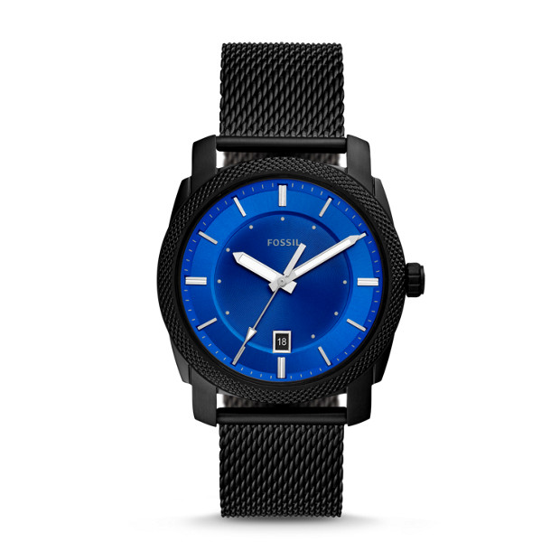 Machine Three Hand Date Black Stainless Steel Mesh Watch by Fossil