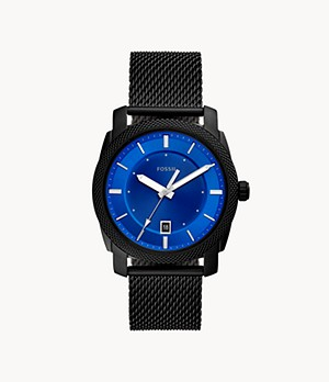 Machine Three-Hand Date Black Stainless Steel Mesh Watch