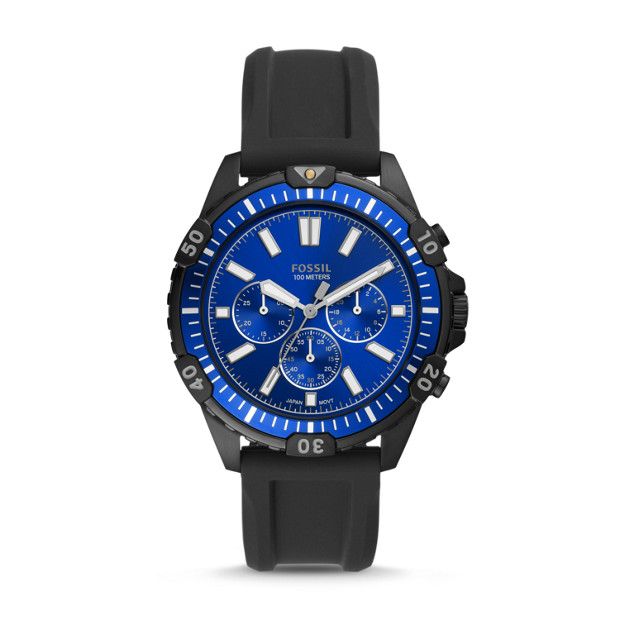 Garrett Chronograph Black Silicone Watch by Fossil