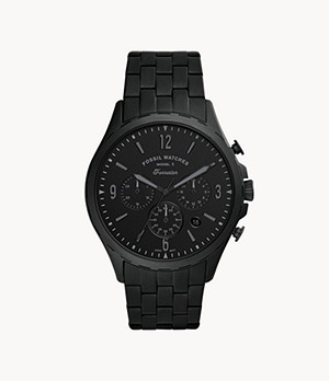 Forrester Chronograph Black Stainless Steel Watch