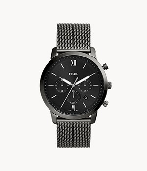 Montre Neutra chronographe en maille milanaise inoxydable anthracite
