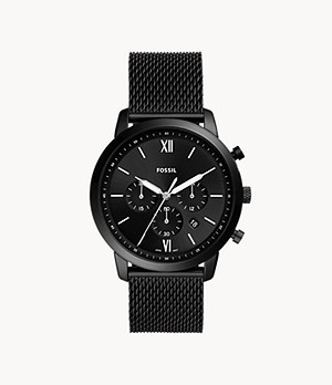 Neutra Chronograph Black Stainless Steel Mesh Watch