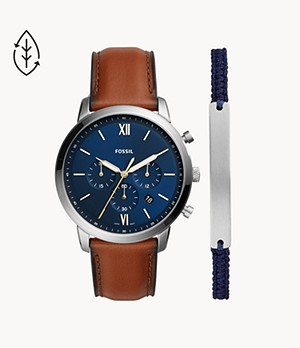 Neutra Chronograph Luggage Leather Watch and Bracelet Set