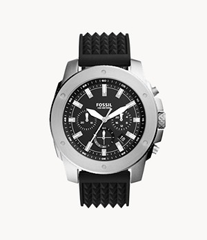 Mega Machine Chronograph Black Silicone Watch