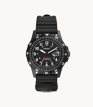 FB-Adventure Three-Hand Date Black Silicone Watch