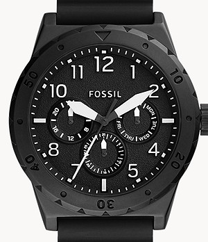 Holt Multifunction Black Silicone Watch