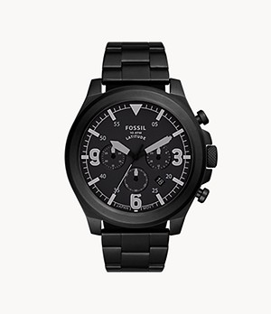 Latitude Chronograph Black Stainless Steel Watch