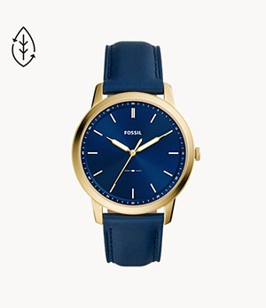 The Minimalist Three-Hand Navy Leather Watch
