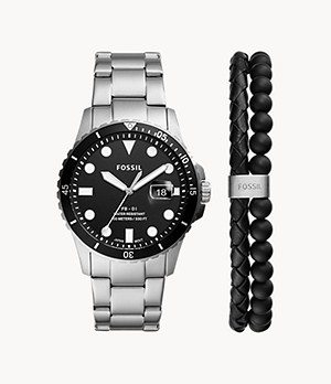 FB-01 Three-Hand Date Stainless Steel Watch and Bracelet Set