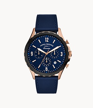 Forrester Chronograph Navy Leather Watch