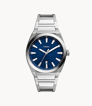 Everett Three-Hand Date Stainless Steel Watch