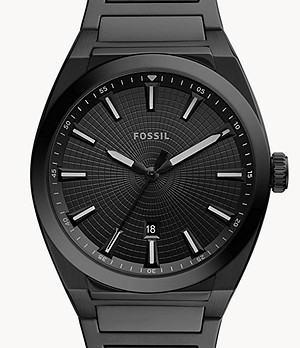 Everett Three-Hand Date Black Stainless Steel Watch