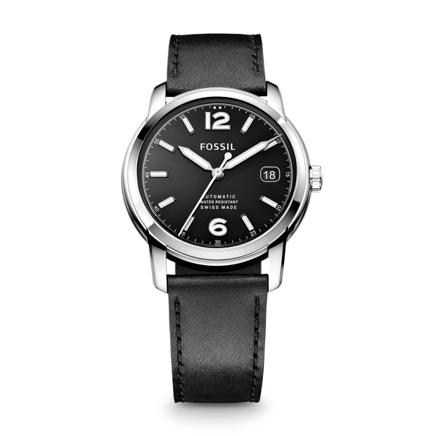 Swiss Made Automatic Leather Watch - Black