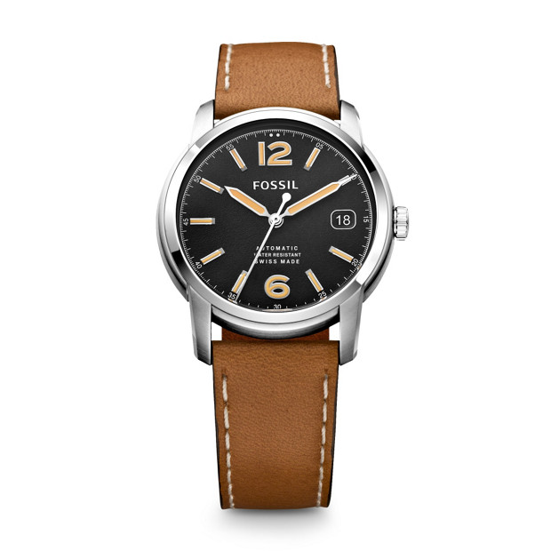 Swiss Made Automatic Leather Watch - Tan