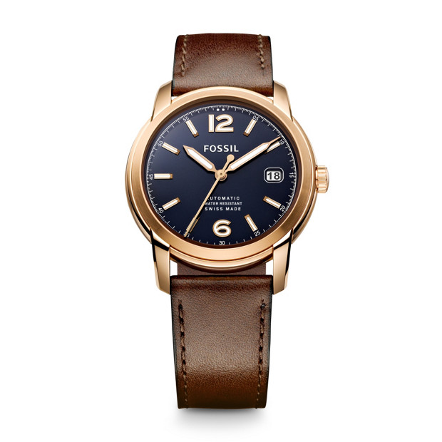 Swiss Made Automatic Leather Watch - Brown