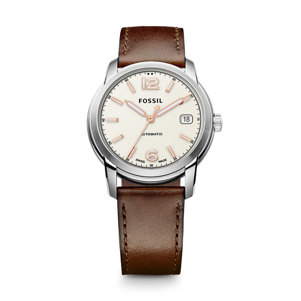Swiss FS-5 Series Automatic Leather Watch - Brown
