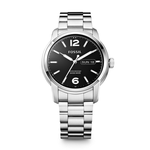 Swiss Made Day/Date Stainless Steel Watch