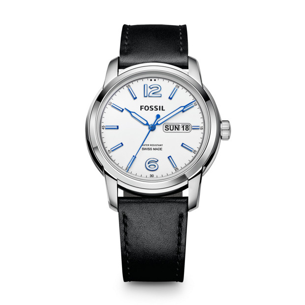 Swiss Made Day/Date Leather Watch - Black