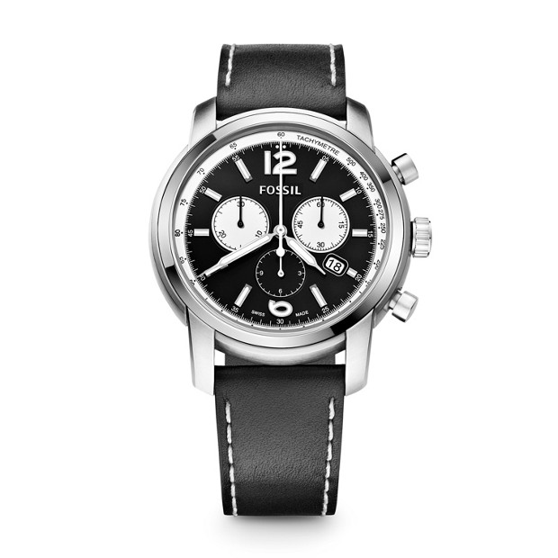 Swiss Made Chronograph Leather Watch - Black