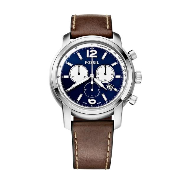 Swiss Made Chronograph Leather Watch - Dark Brown