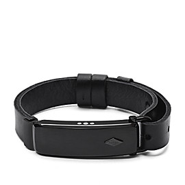 Q Reveler Black Leather Activity Tracker
