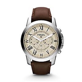 Montre connectée Grant chronographe en cuir marron
