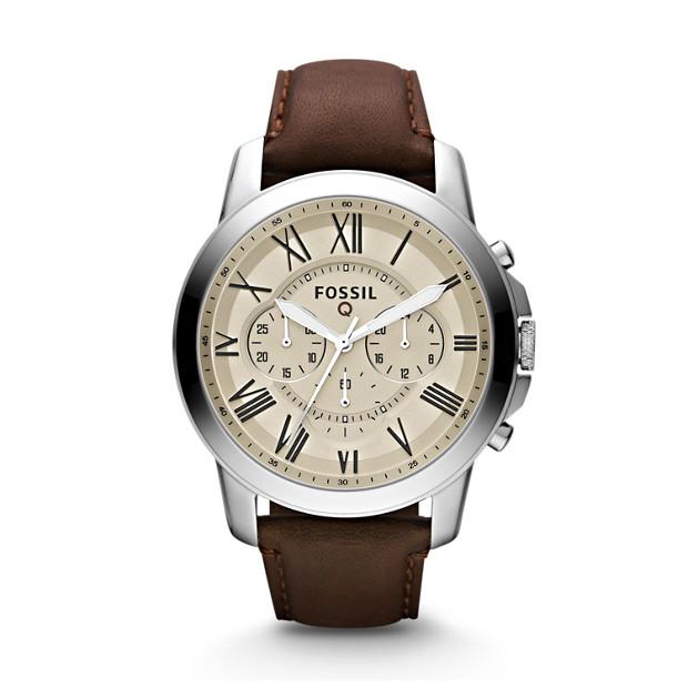 Smartwatch Q Grant cronografo in pelle marrone scura - Fossil c99d685a8c