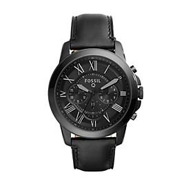 Q Grant Chronograph Black Leather Smartwatch