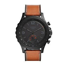 Q Nate Hybrid Dark Brown Leather Smartwatch