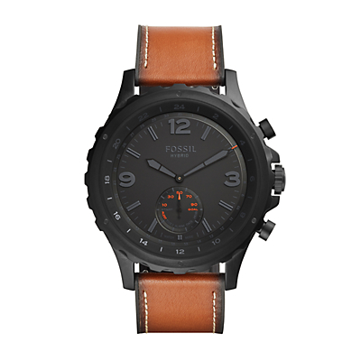 Fossil Q Nate Dark Brown Leather Hybrid Smartwatch