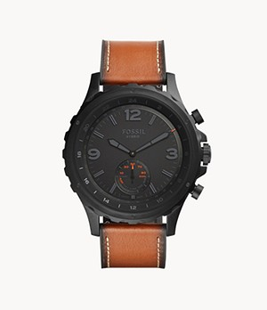 Hybrid Smartwatch Nate Dark Brown Leather