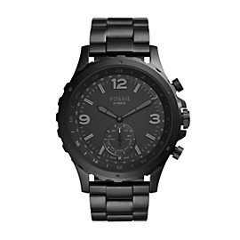 Q Nate Hybrid Black Stainless Steel Smartwatch