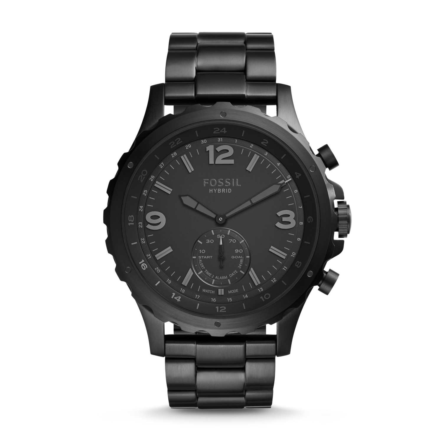hybrid smartwatch nate black stainless steel fossil
