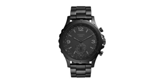 bf2e7647b1b2 Hybrid Smartwatch - Q Nate Black Stainless Steel - Fossil