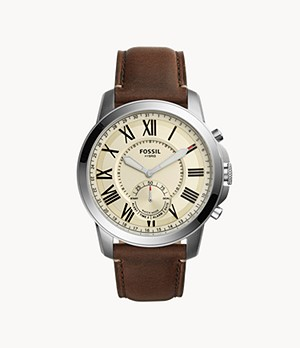 Hybrid Smartwatch Grant Dark Brown Leather