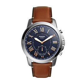 Fossil Q Grant Light Brown Leather Hybrid Smartwatch