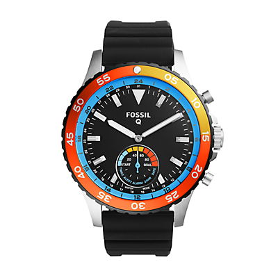 Q Crewmaster Hybrid Black Silicone Smartwatch