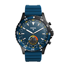 Q Crewmaster Hybrid Blue Silicone Smartwatch