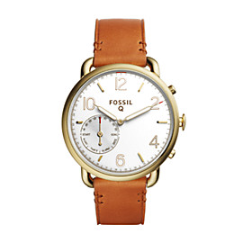 Q Tailor Hybrid Light Brown Leather Smartwatch