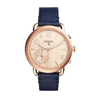 Fossil Q Tailor Dark Navy Leather Hybrid Smartwatch