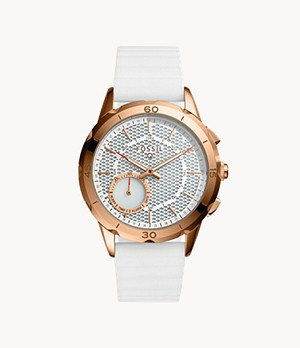 Damen Hybrid Smartwatch Modern Pursuit Silikon Weiß