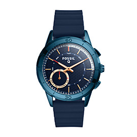 Fossil Q Modern Pursuit Navy Blue Silicone Hybrid Smartwatch