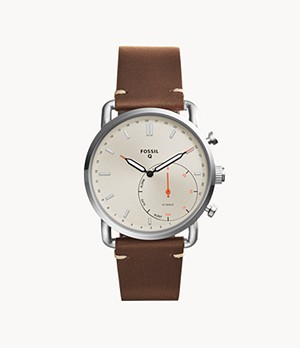 Montre connectée hybride Fossil Commuter en cuir marron