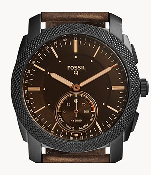 Montre connectée hybride Fossil Machine en cuir marron