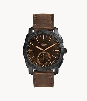 Hybrid Smartwatch Machine Dark Brown Leather